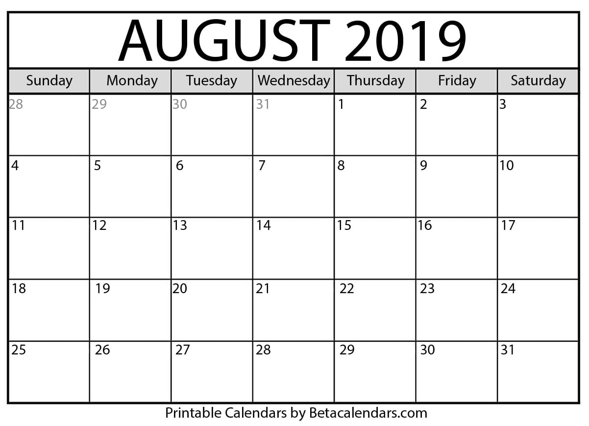 Blank August 2019 Calendar Printable - Beta Calendars regarding Blank Calendars For August
