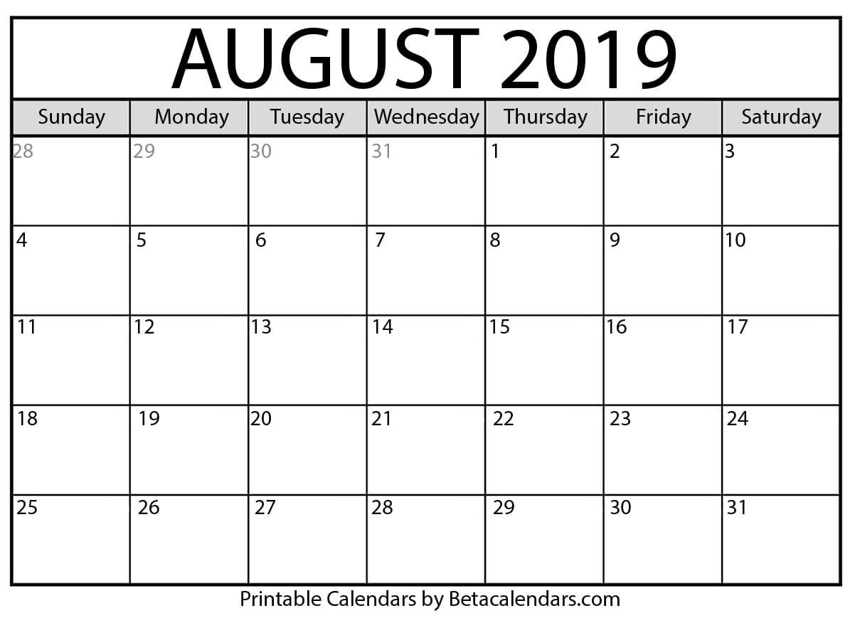 Blank August 2019 Calendar Printable - Beta Calendars within Blank 2020 Calendar Starting On Saturday Printable Free