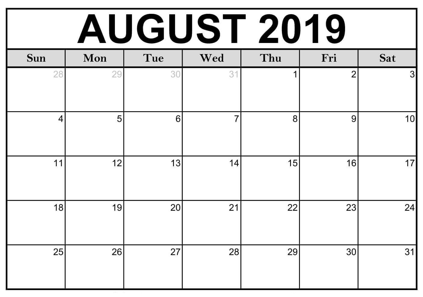 Blank August 2019 Calendar Printable #editable #templates | August in Blank Calendar Of August Full Page