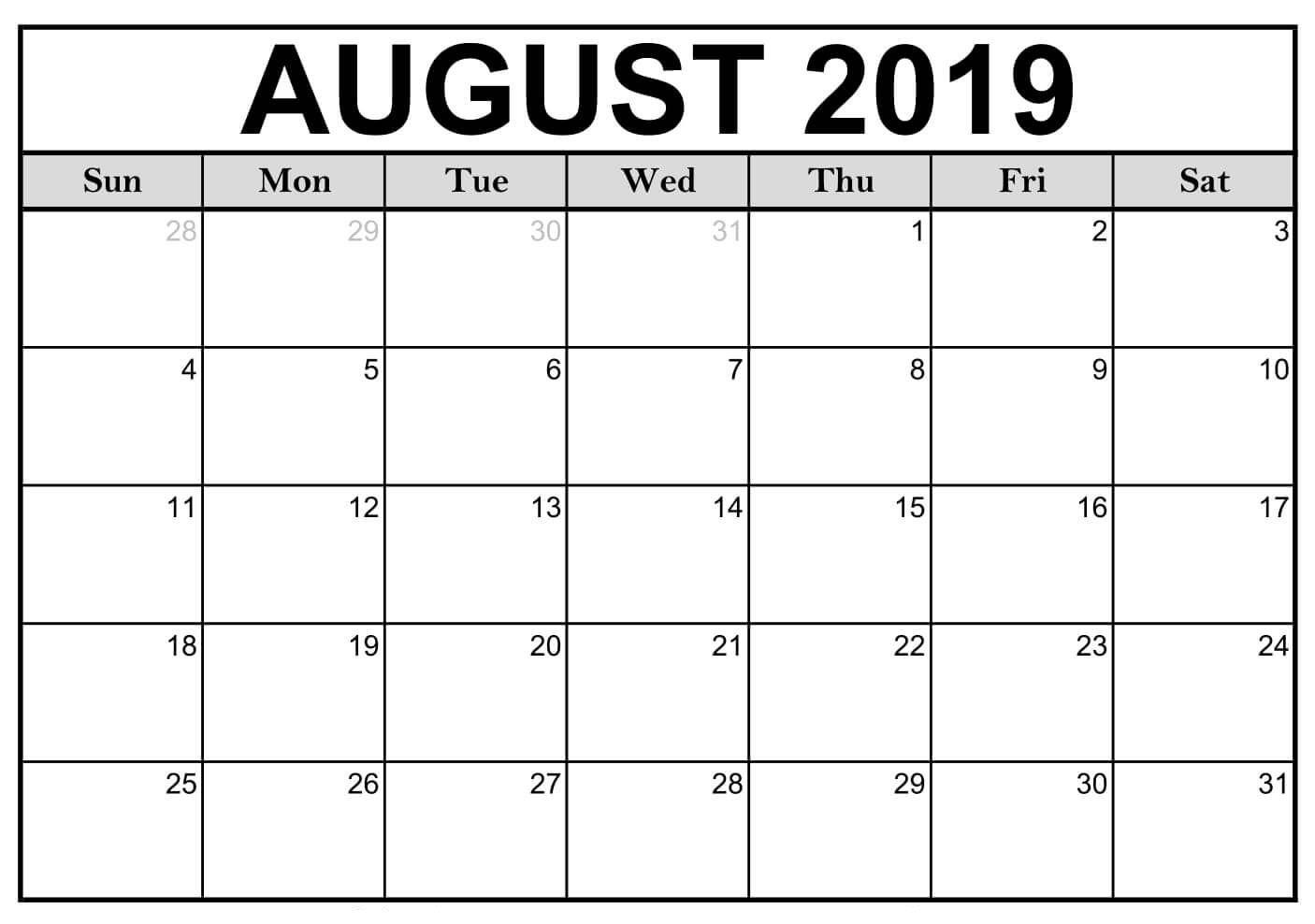 Blank August 2019 Calendar Printable #editable #templates | August throughout August Blank Calendar Printable