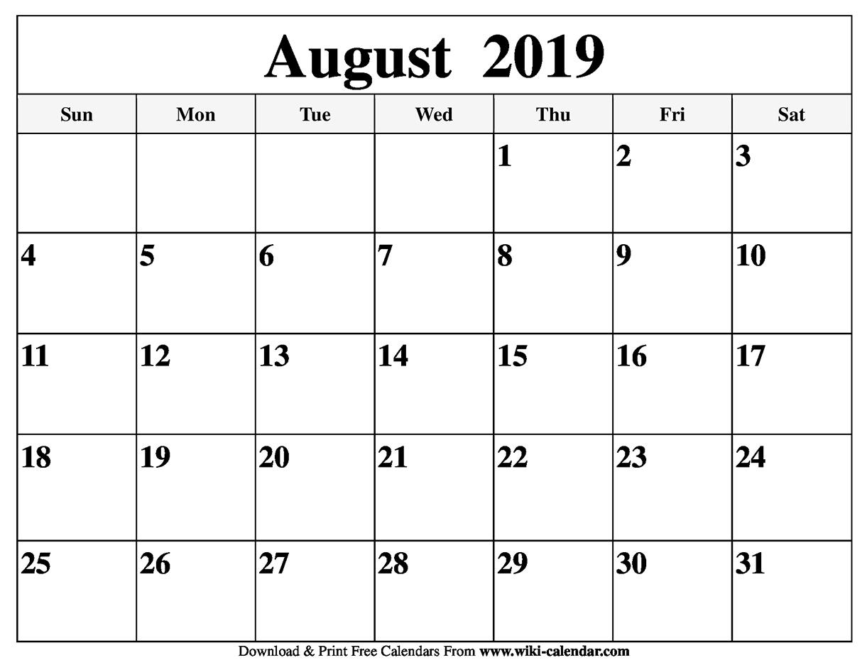 Blank August 2019 Calendar Printable in Blank Calendars For August