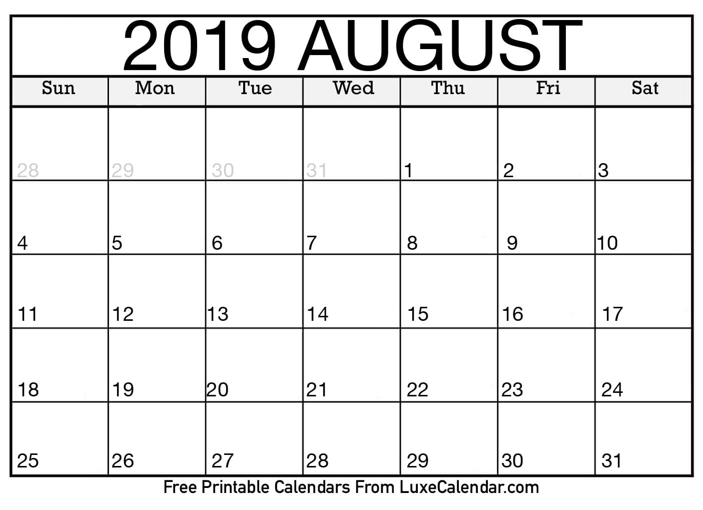 Blank August 2019 Calendar Printable - Luxe Calendar inside Blank Calendar To Write On August