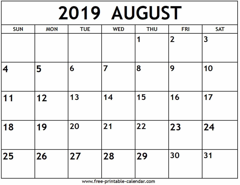 Blank August 2019 Calendar Printable - Printable Calendar 2019 with Calendar Template For August
