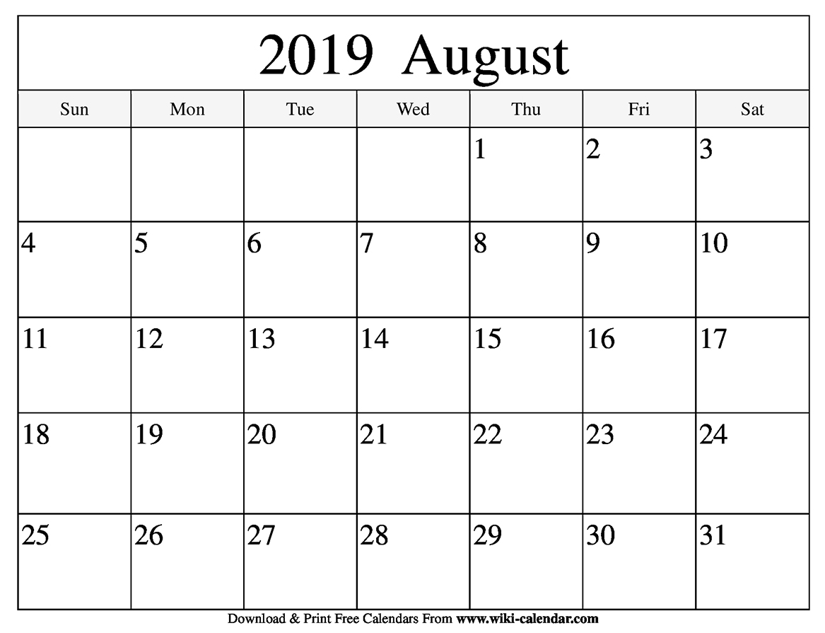Blank August 2019 Calendar Printable with August Fun Calendar Template