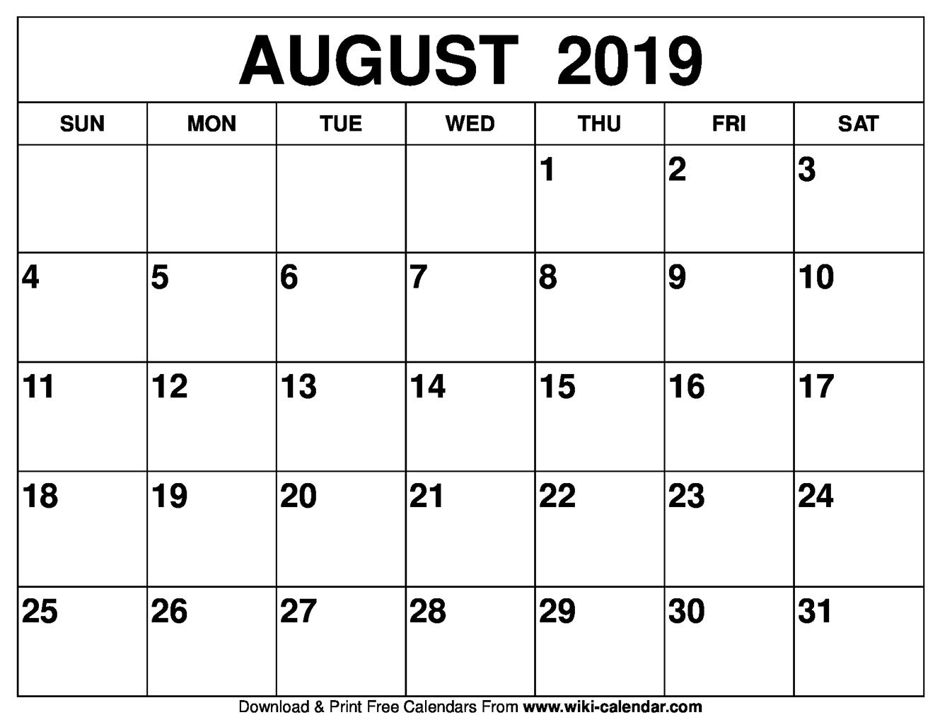 Blank August 2019 Calendar Printable within Blank August Colorful Calendar