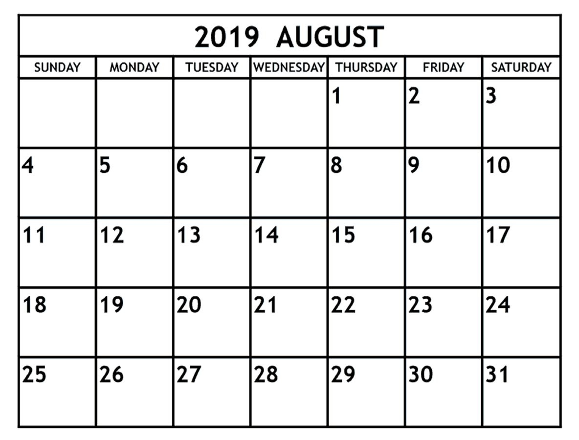 Blank August 2019 Calendar Template In Printable Editable Format for August Blank Calendar Template