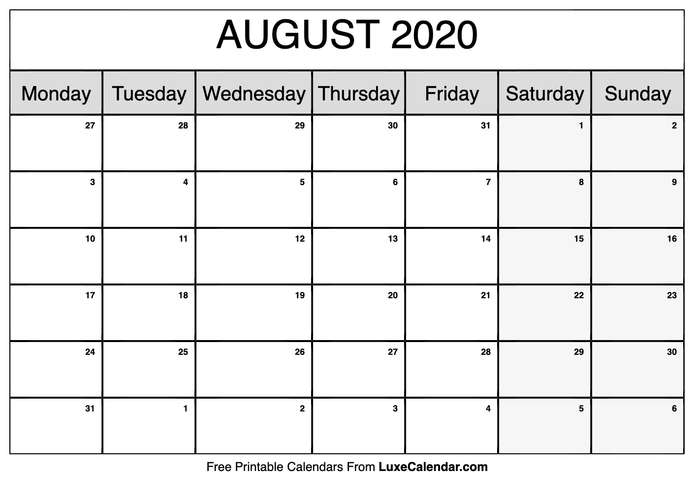 Blank August 2020 Calendar Printable - Luxe Calendar with Kid Freiendly August 2020 Calendars