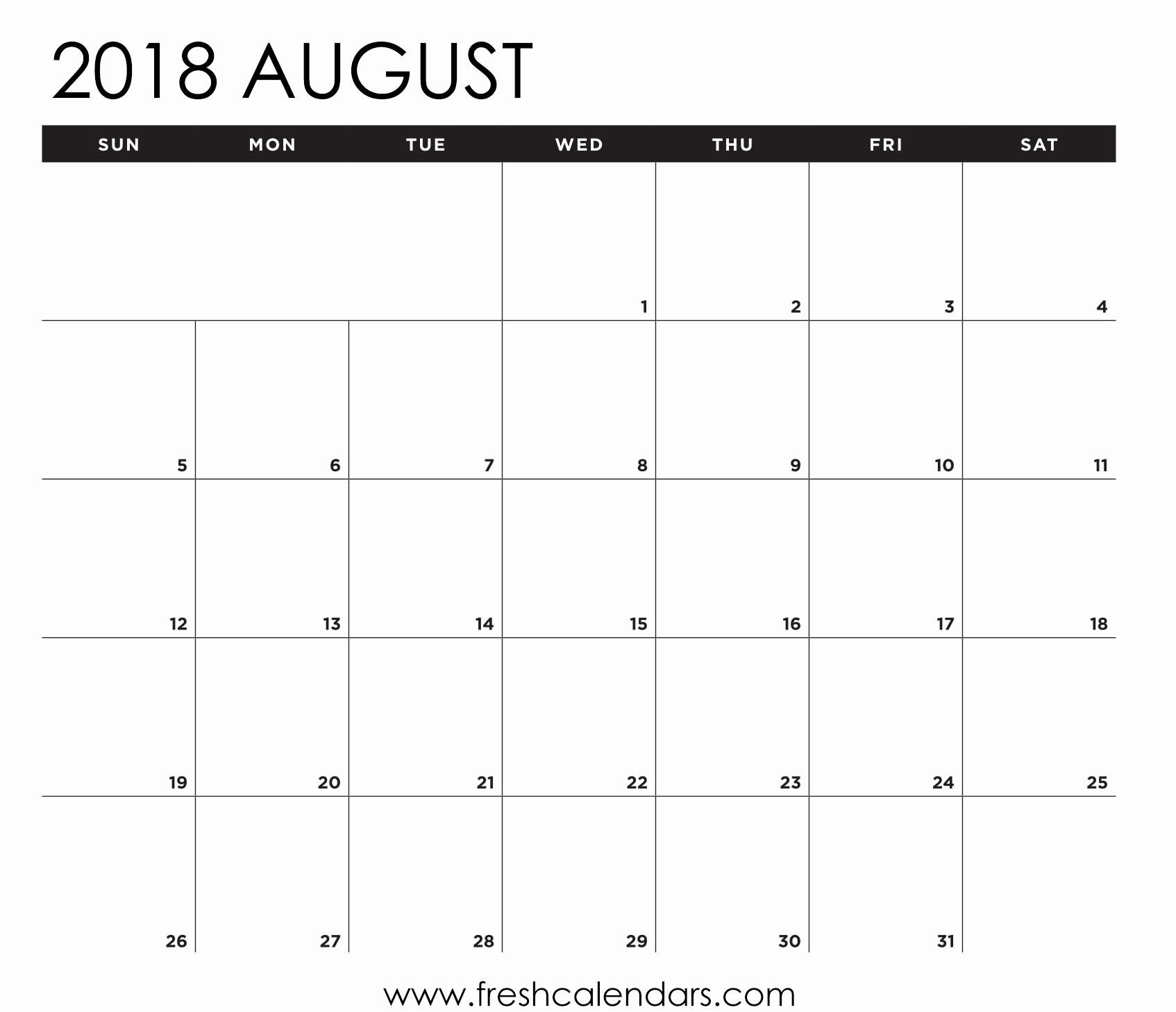 Blank August Calendar Printable Blank Calendar August 2018 Printable inside Printable Blank Calendar August
