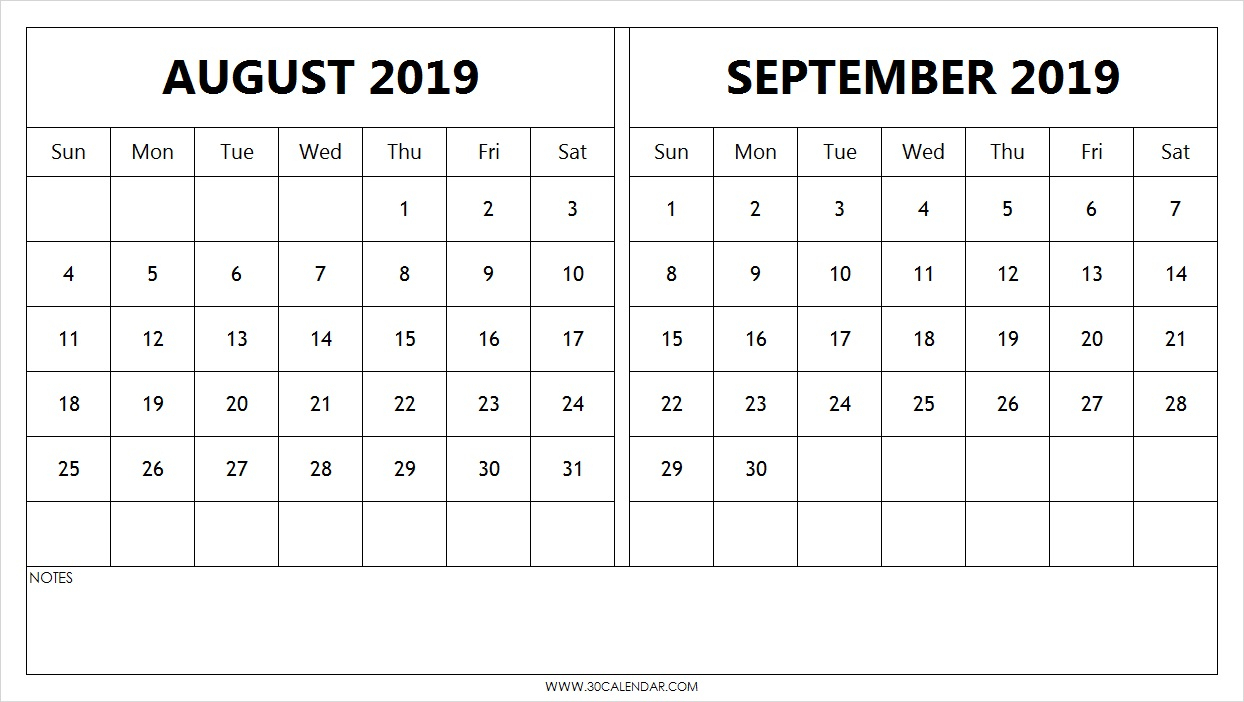 Blank August September Calendar 2019 Template | 2 Month Calendar inside Blank August And September Calendar