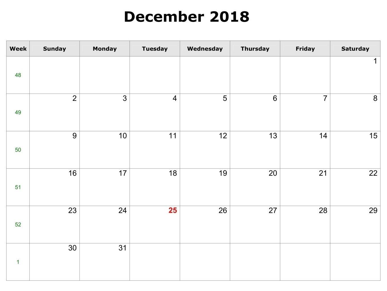 Blank Bold 2018 December Calendar | Calendar Format Example regarding Blank Bold December Calendar