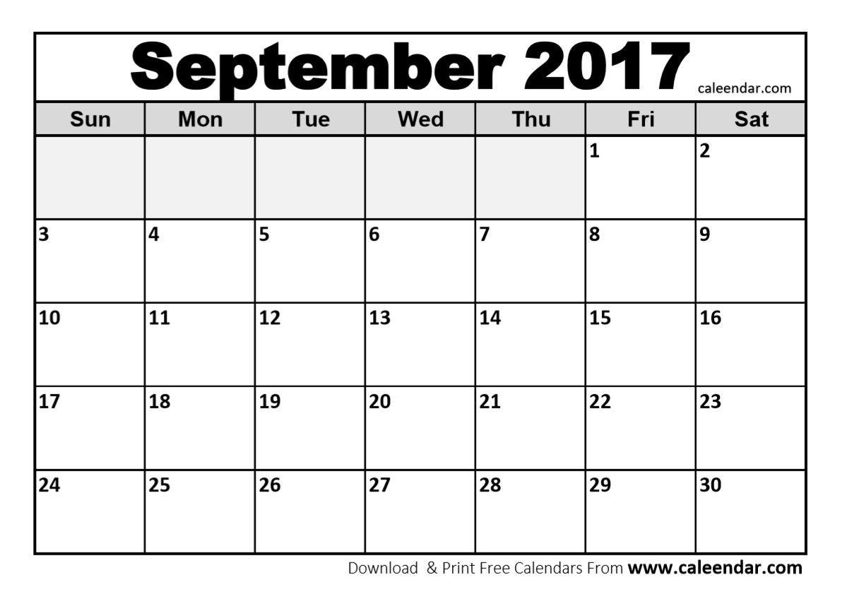 Blank Calendar 2017 – Printable Year Calendar for Blank Calendar Print-Outs Fill In Sept