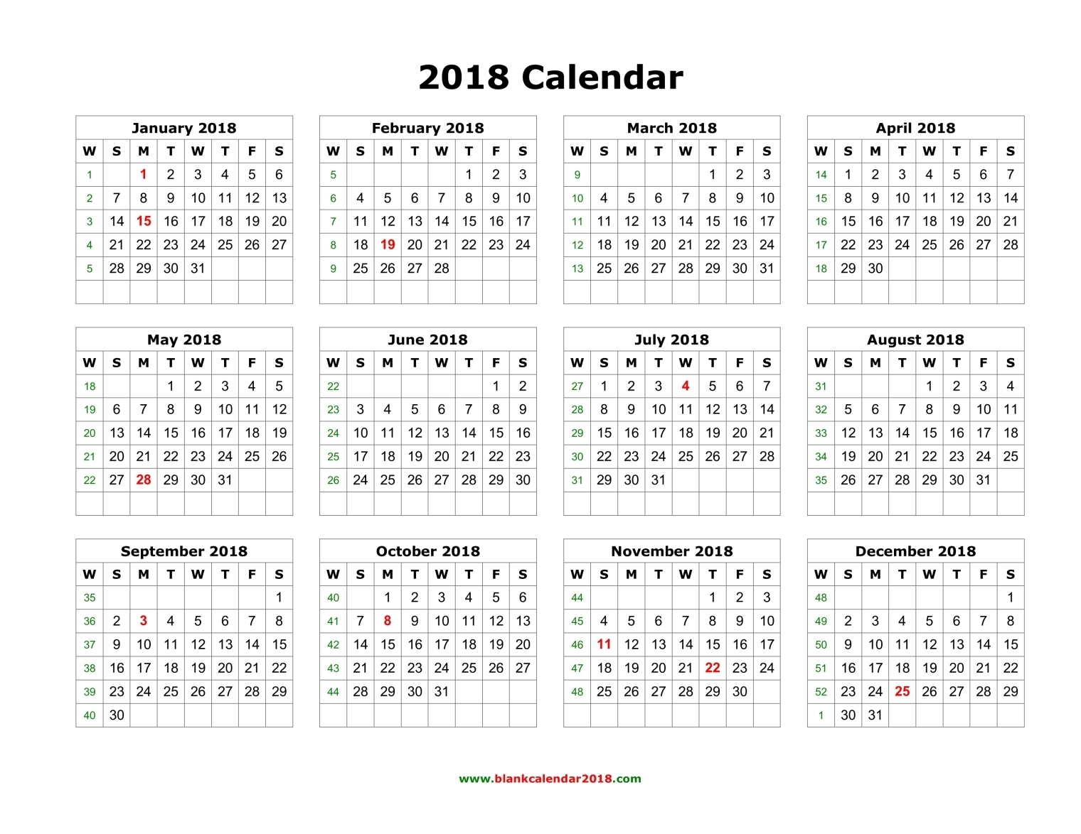 Blank Calendar 2018 inside Monthly Calendar Templates Portrait Editable