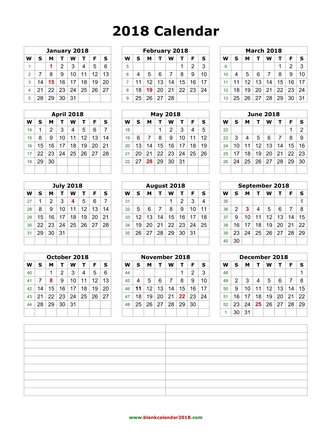 Blank Calendar 2018 intended for 12 Week Blank Calendar Printable