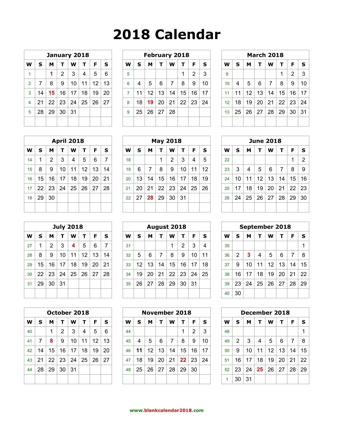 Blank Calendar 2018 throughout Blank 4 Week Calendar Printable