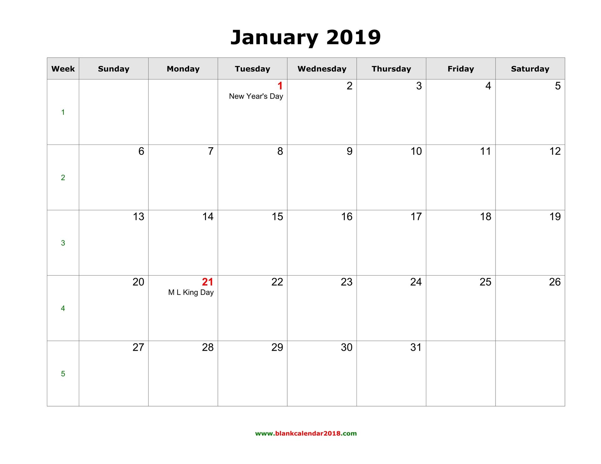 Blank Calendar 2019 Blank Printable Calendar 2019 With Holidays in Full Size Blank Printable Calendar