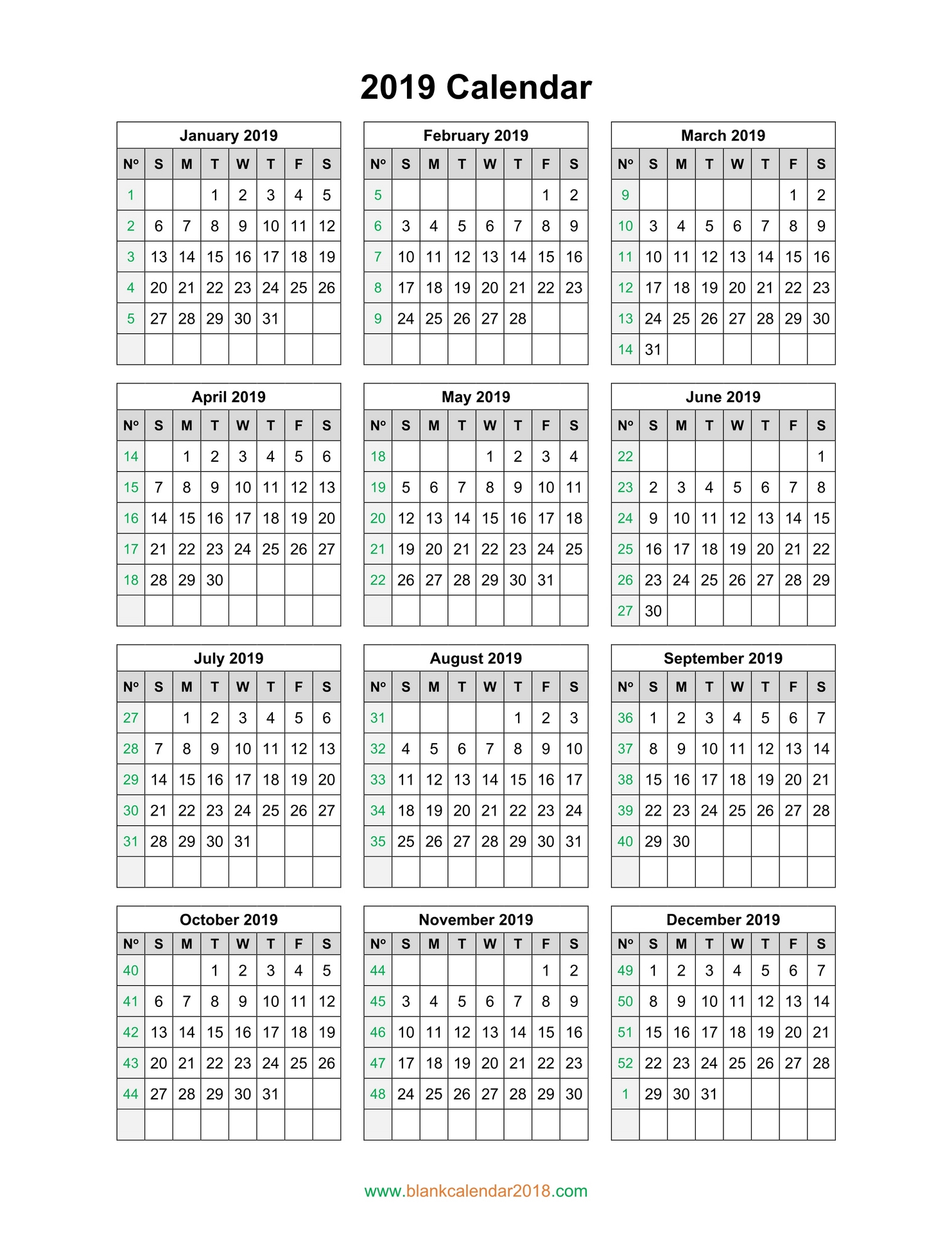 Blank Calendar 2019 inside Blank Printable Calendars Yearly