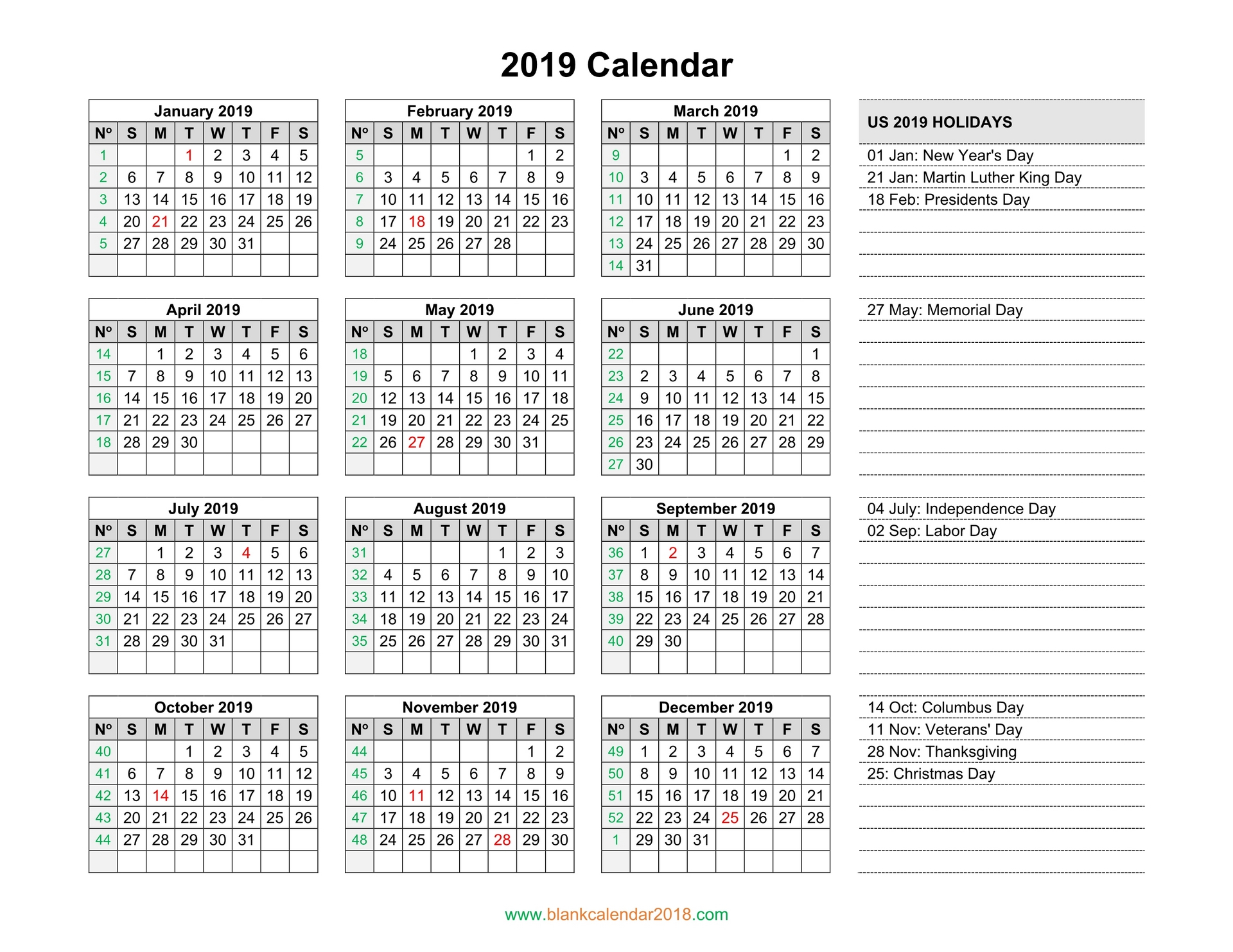 Blank Calendar 2019 intended for Printable Year Calendar 2019 - 2020 With Space To Write