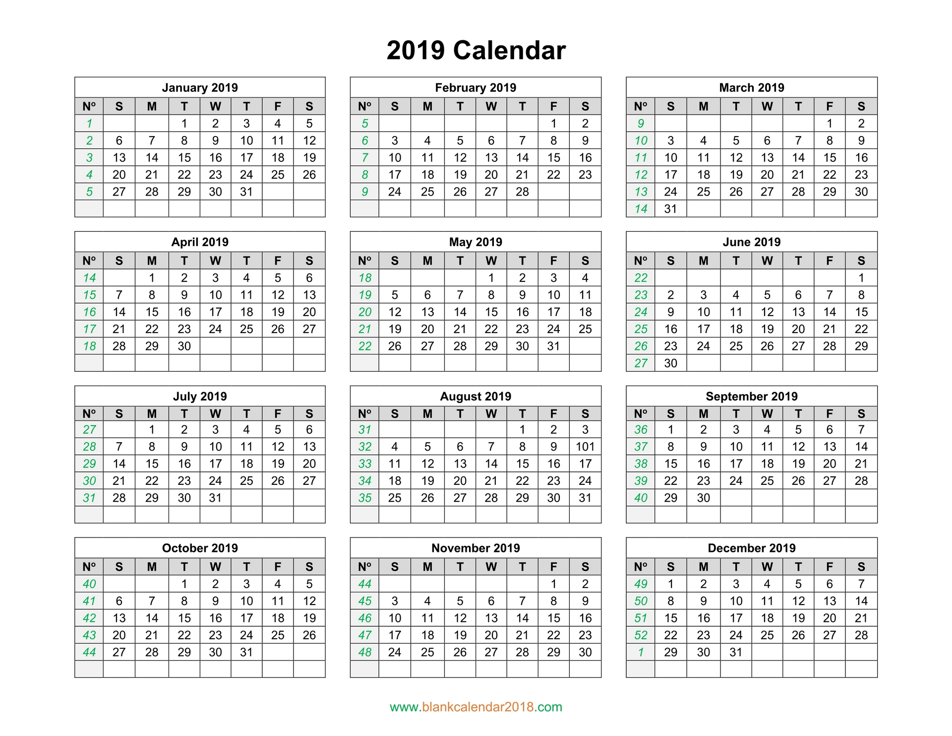 Blank Calendar 2019 throughout Printable Year Calendar 2019 - 2020 With Space To Write