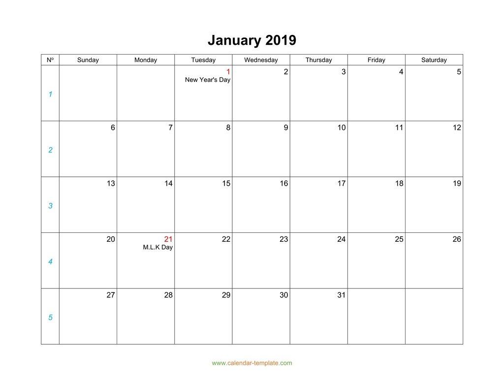 Blank Calendar 2019 within 12 Month Blank Calendar