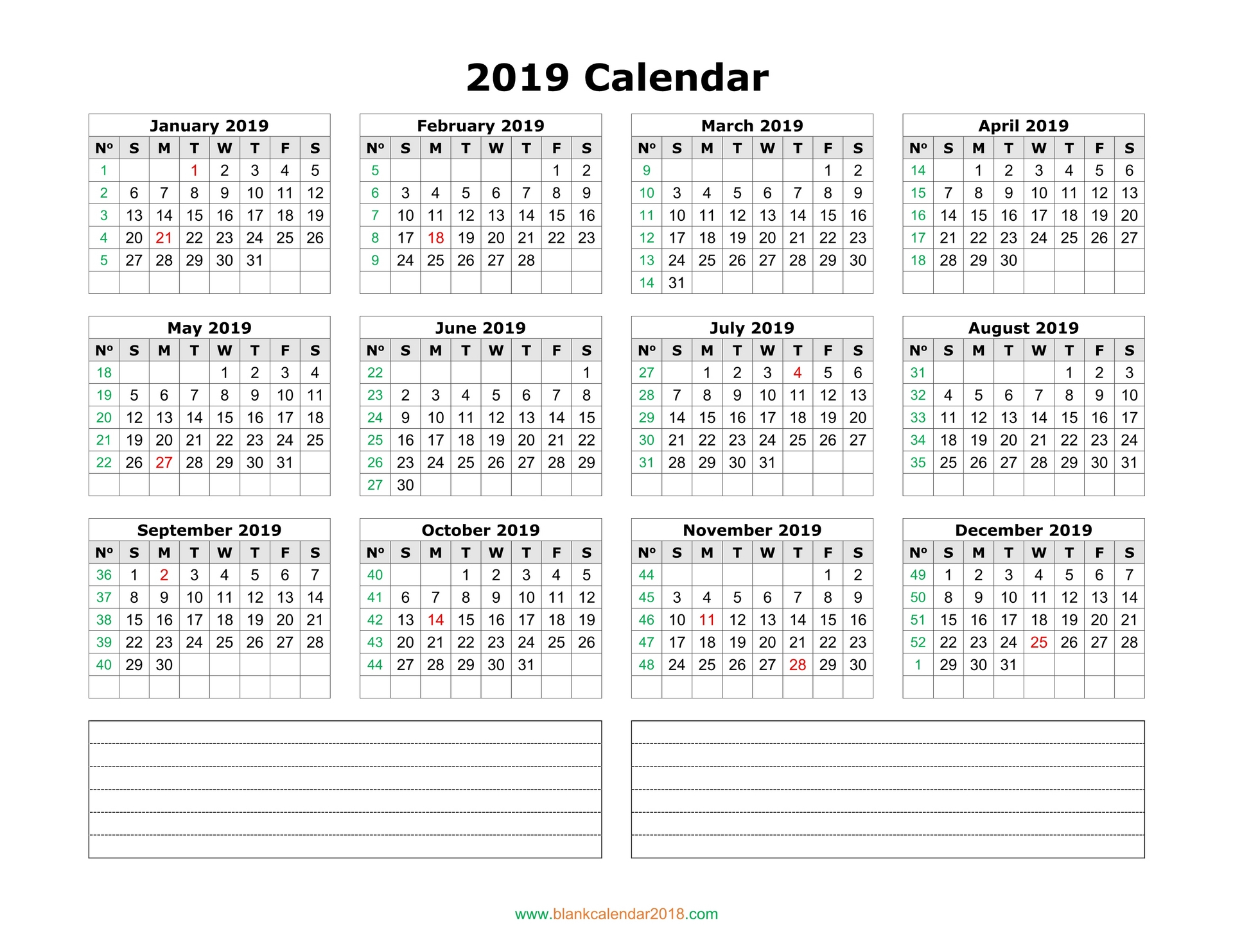 Blank Calendar 2019 within Printable Year Calendar 2019 - 2020 With Space To Write