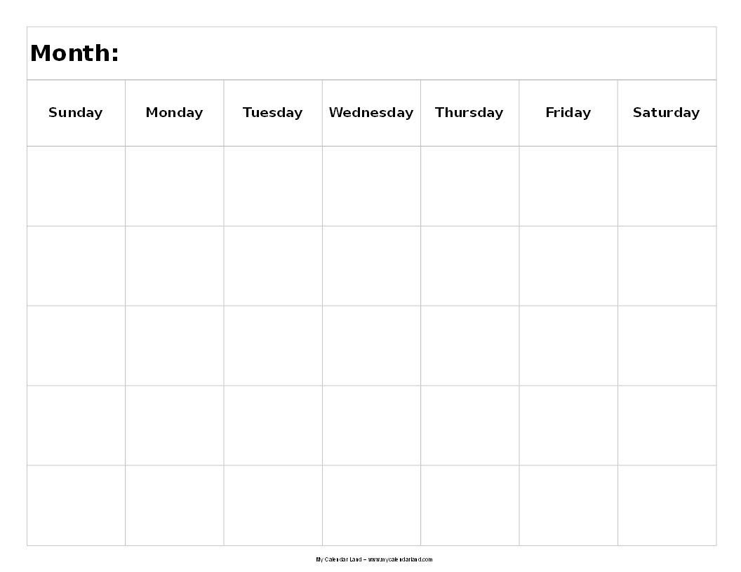 Blank Calendar 5 Weeks | Igotlockedout pertaining to 5 Day Blank Calendar Template
