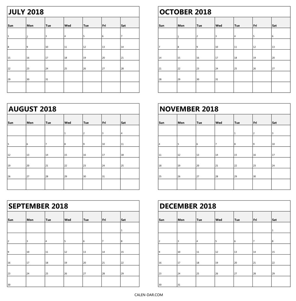 Blank Calendar 6 Months | One Page Calendar Printable pertaining to Blank 6 Month Calendar