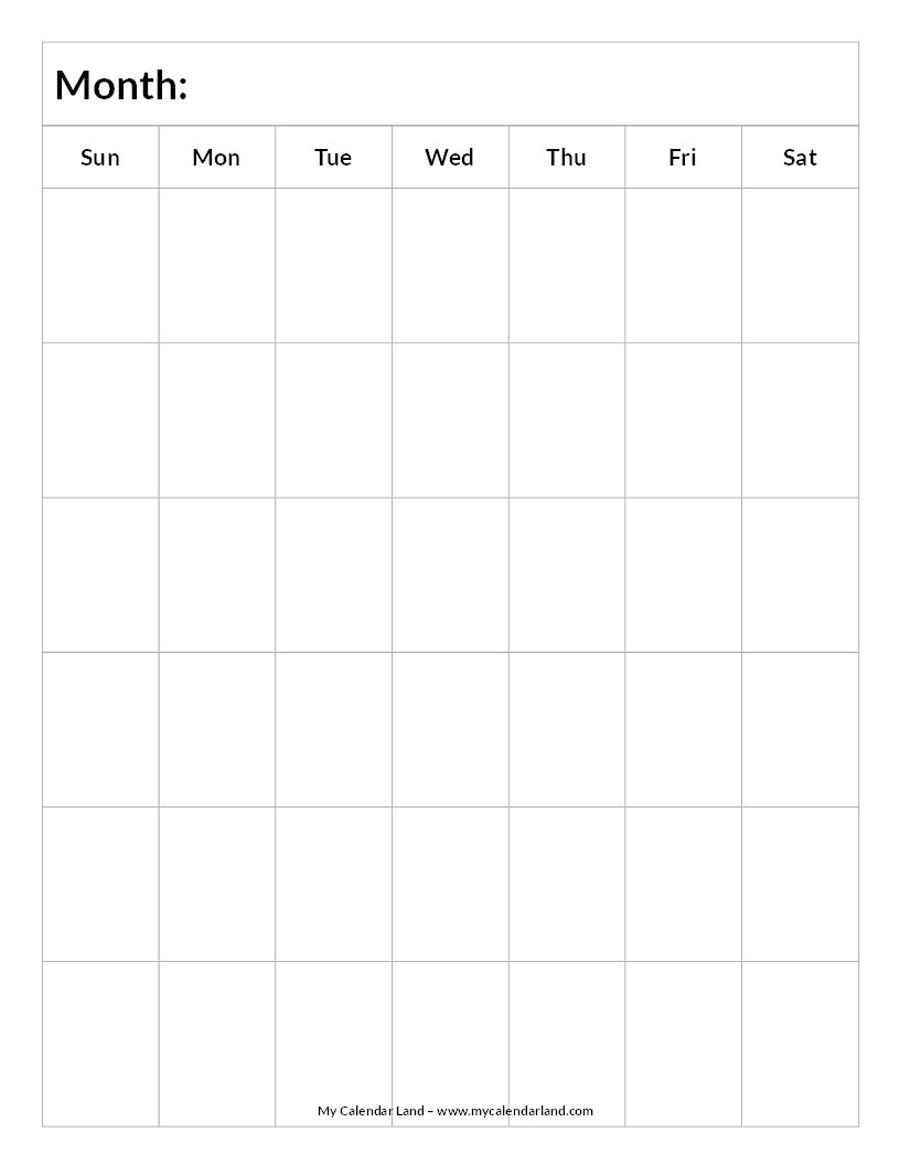 Blank-Calendar-6-Weeks-Portrait-C … | Everything Else.for Now within Templates Of Organizational Calendars For Kids