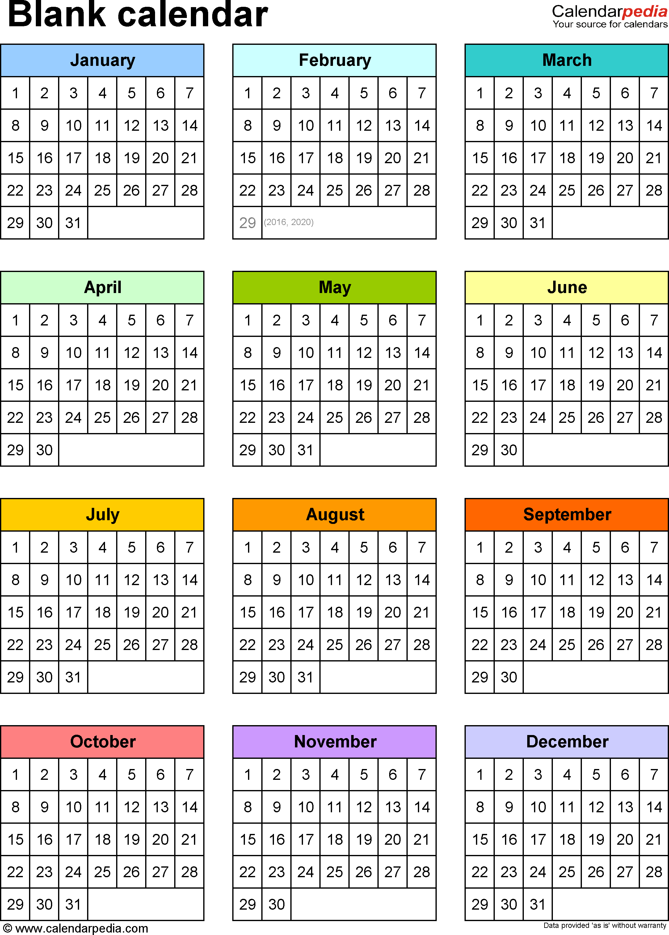 Blank Calendar - 9 Free Printable Microsoft Word Templates for Year At A Glance Calendar Template
