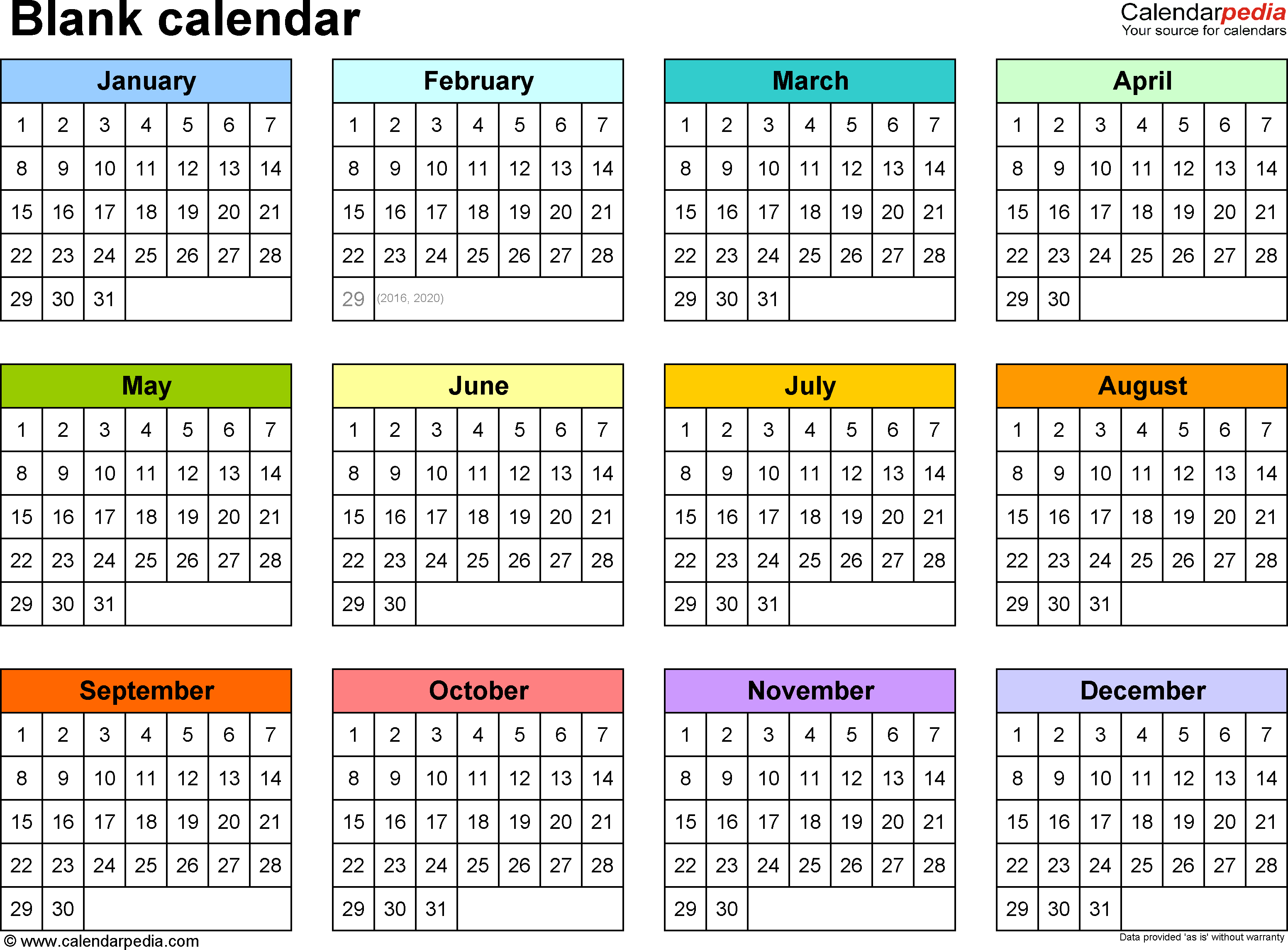 Blank Calendar - 9 Free Printable Microsoft Word Templates throughout Year At A Glance Calendar Template