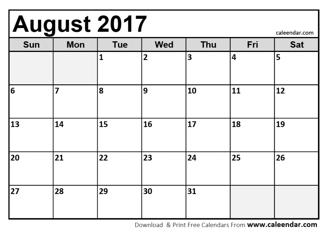 Blank Calendar August 2017 Printable   Hauck Mansion inside Blank Calender August Printable