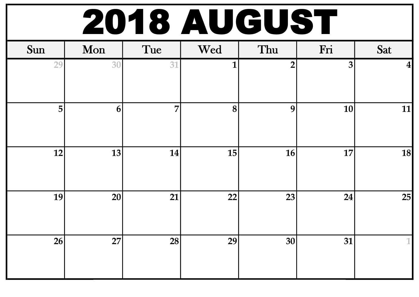 Blank Calendar August 2018 Printable Pdf, Word, Excel Template with August Calendar Template Printable