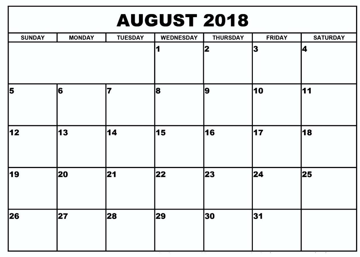 Blank Calendar August 2018Week Or Month inside August Blank Calendar Printable