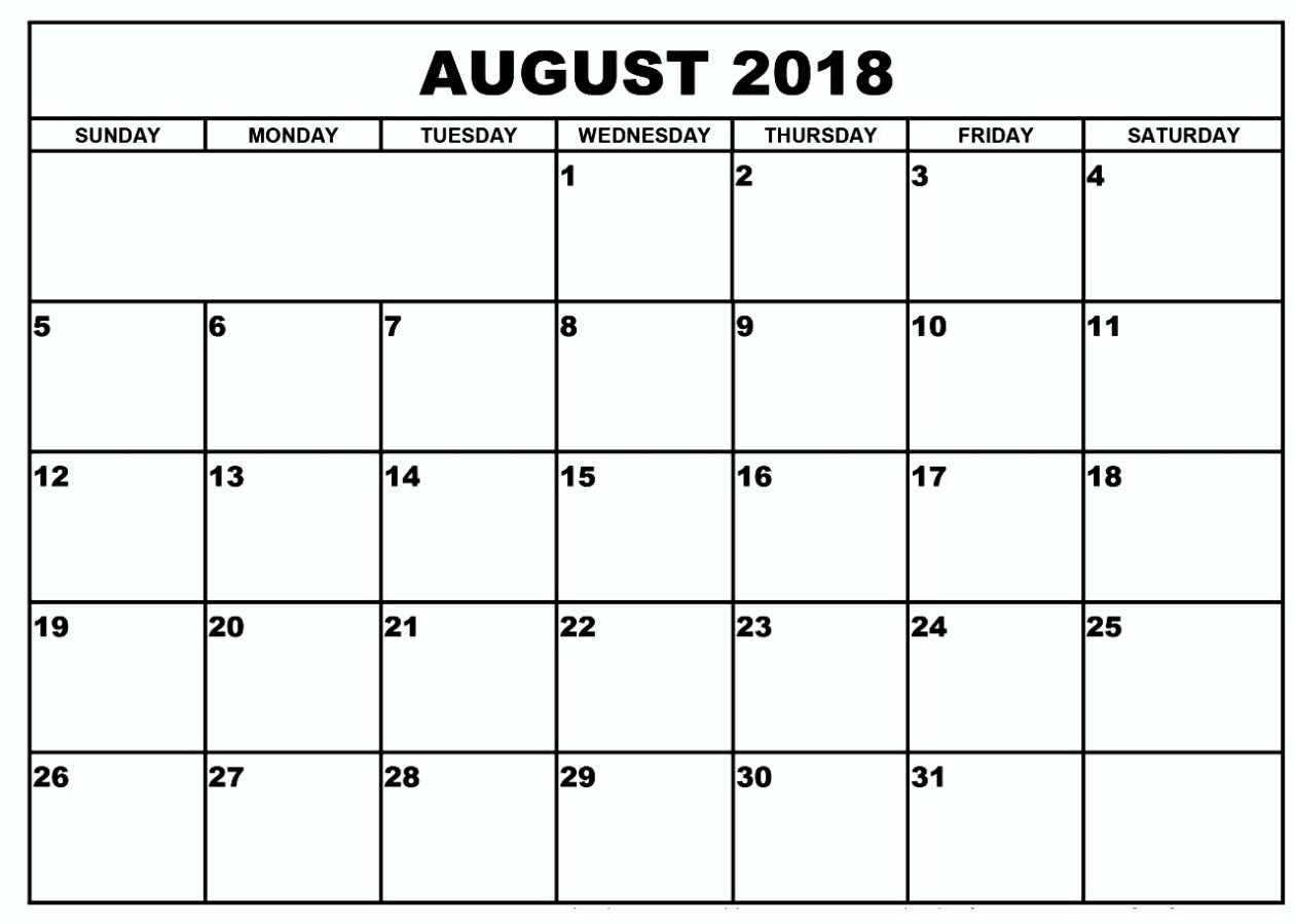 Blank Calendar August 2018Week Or Month with regard to Printable Blank Calendar August