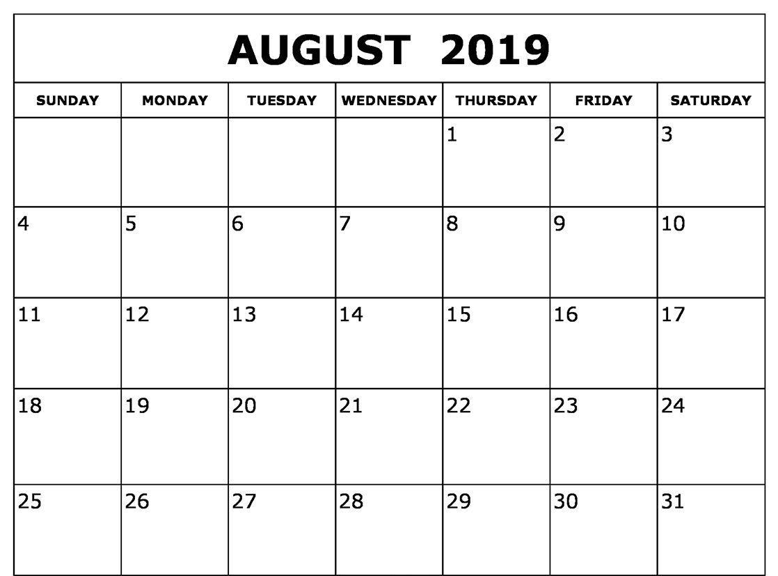 Blank Calendar August 2019 Printable Template Download - July 2019 for Blank Calendar Template For August