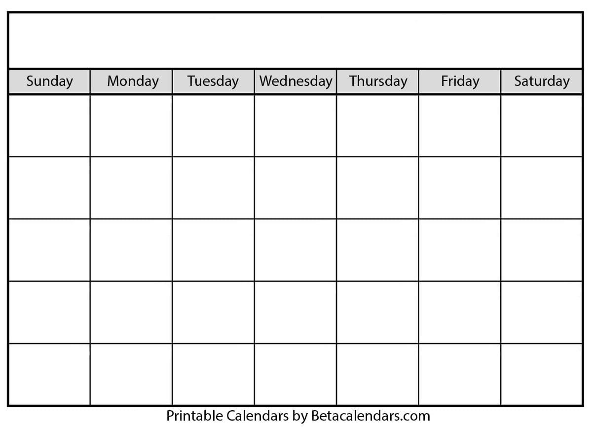Blank Calendar - Beta Calendars for Fill In Blank Calendar