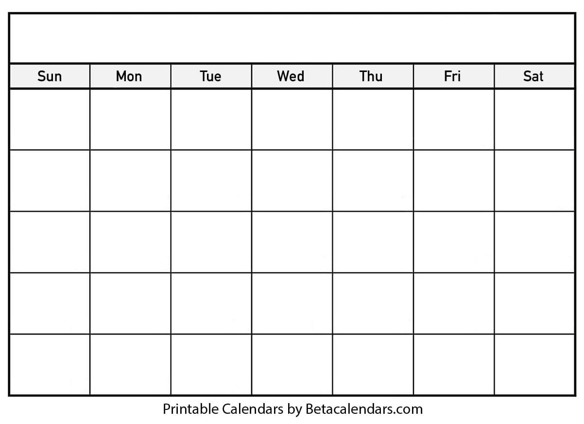 Blank Calendar - Beta Calendars in Print Off A Blank Calendar For