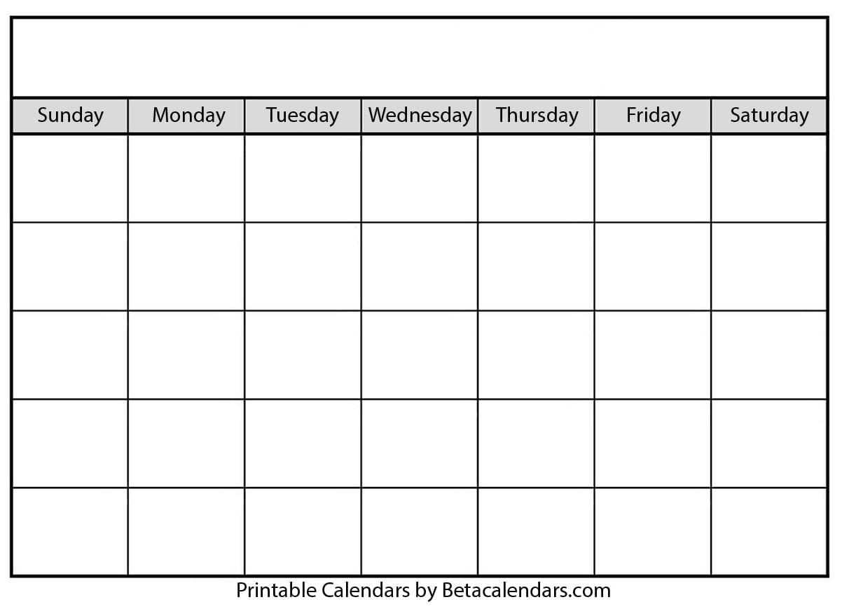 Blank Calendar - Beta Calendars intended for To Fill In Blankcalendar