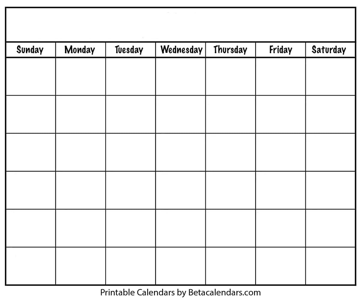 Blank Calendar - Beta Calendars pertaining to Printable Blank Calendar Template