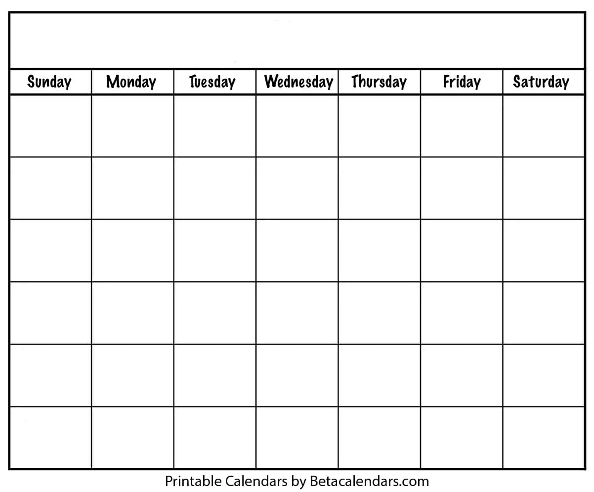 Blank Calendar - Beta Calendars with Monday Through Friday Blank Schedule Print Out