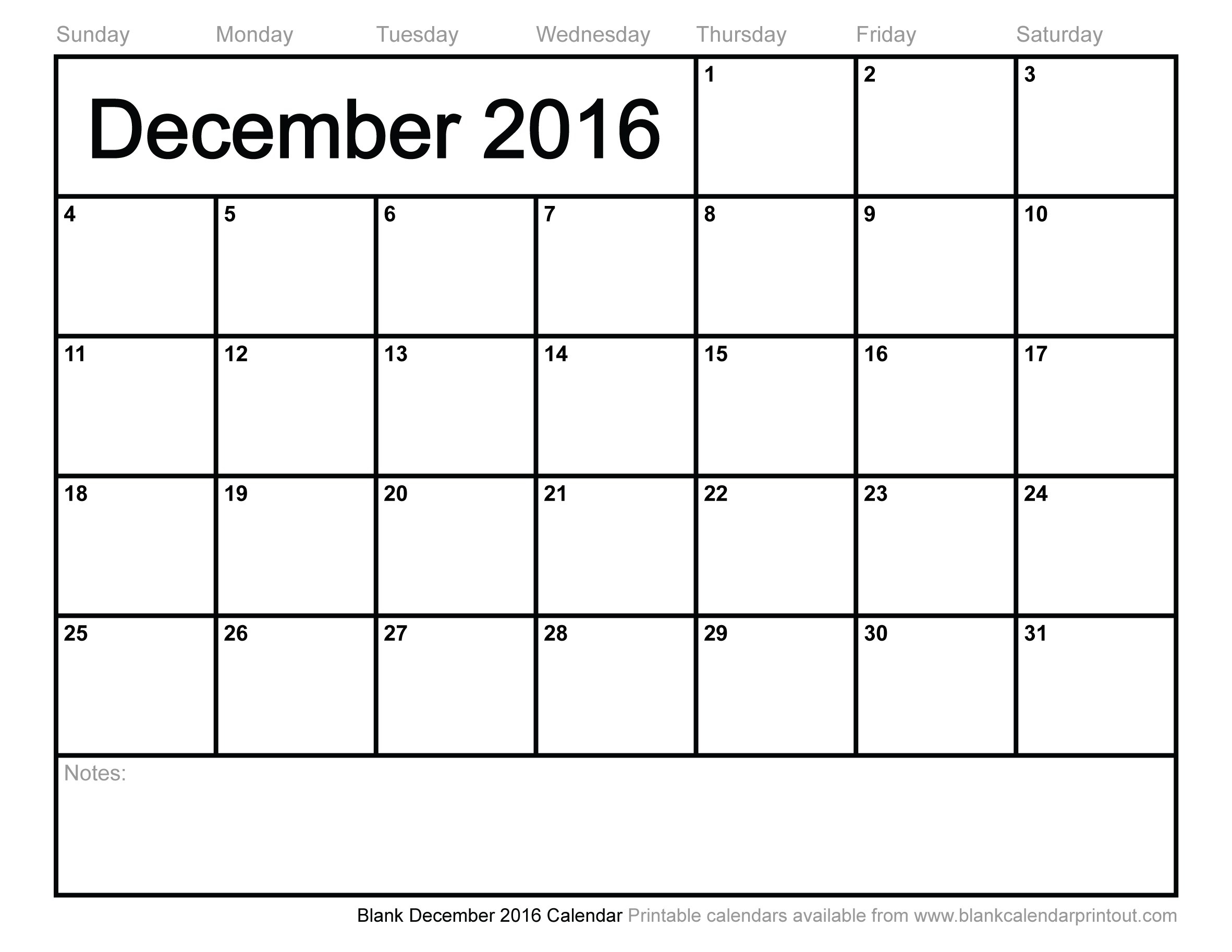 Blank Calendar December 2016 And January 2017 | Free Calendar Grid 2015 pertaining to Blank Printable Calendar December