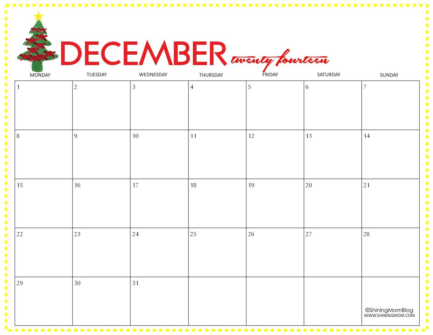 Blank Calendar December 2018 Printable | December 2018 Calendar pertaining to Christmas Calendar Printable Template