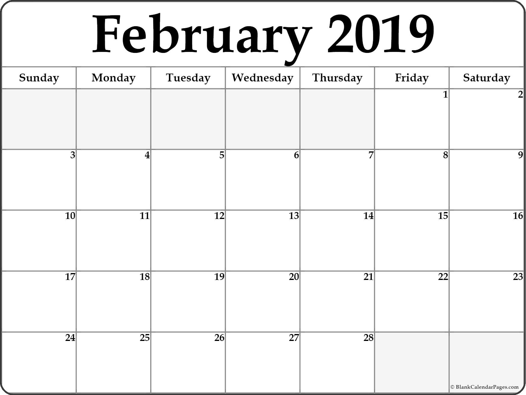Blank Calendar February 2019 Printable Template Download - February throughout Editable Calendars Download Template