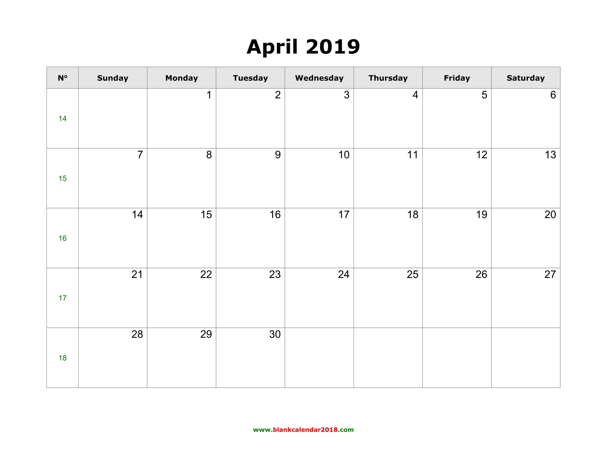 Blank Calendar For April 2019 throughout April Calendar Template