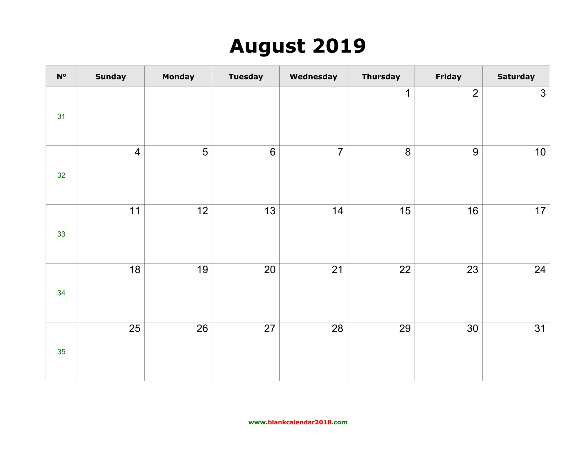 Blank Calendar For August 2019 in August Blank Calendar Template