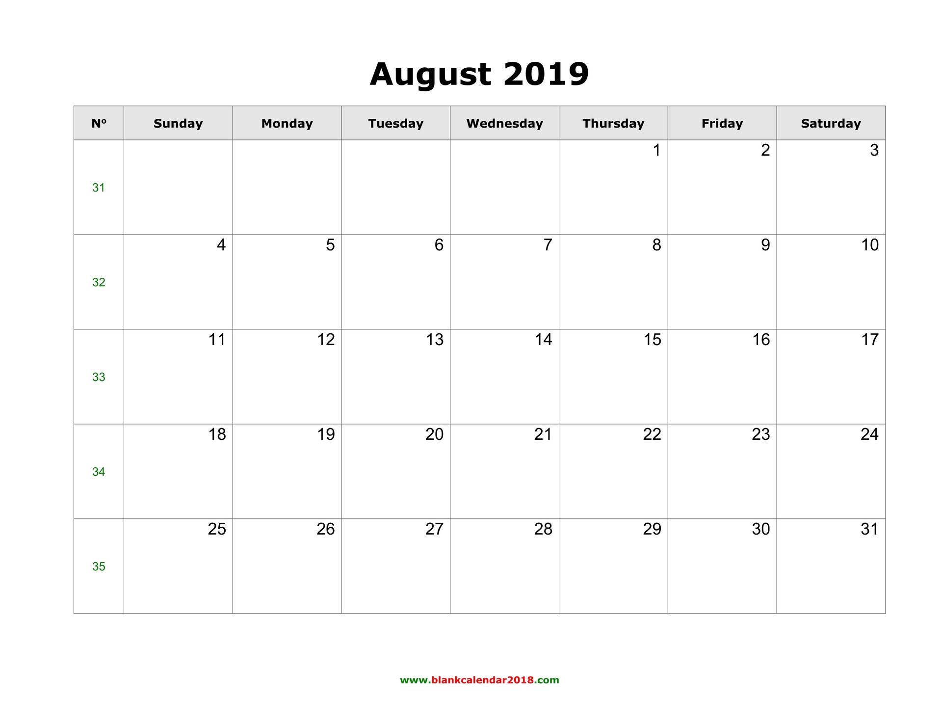 Blank Calendar For August 2019 with Printable Blank Calendar August