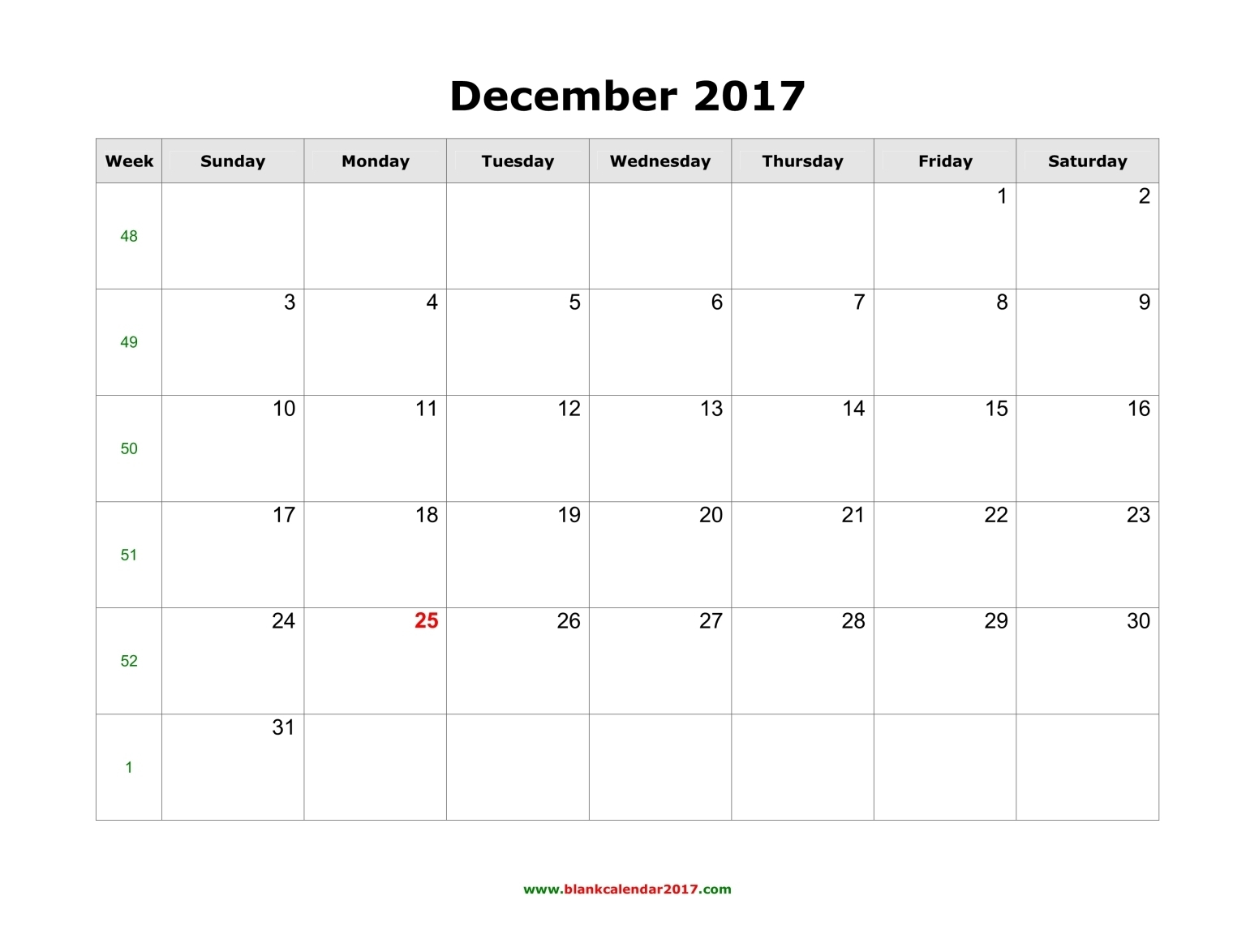Blank Calendar For December 2017 regarding December Blank Calendar Page Printable