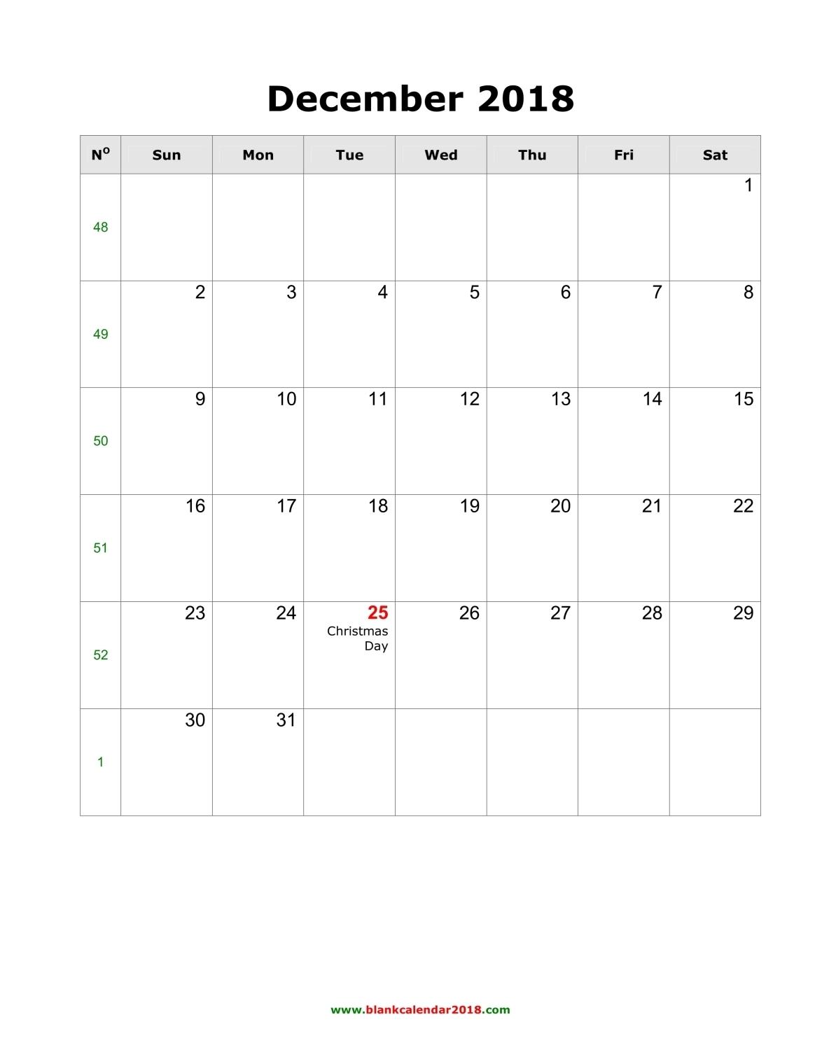 Blank Calendar For December 2018 throughout December Blank Monthly Calendar