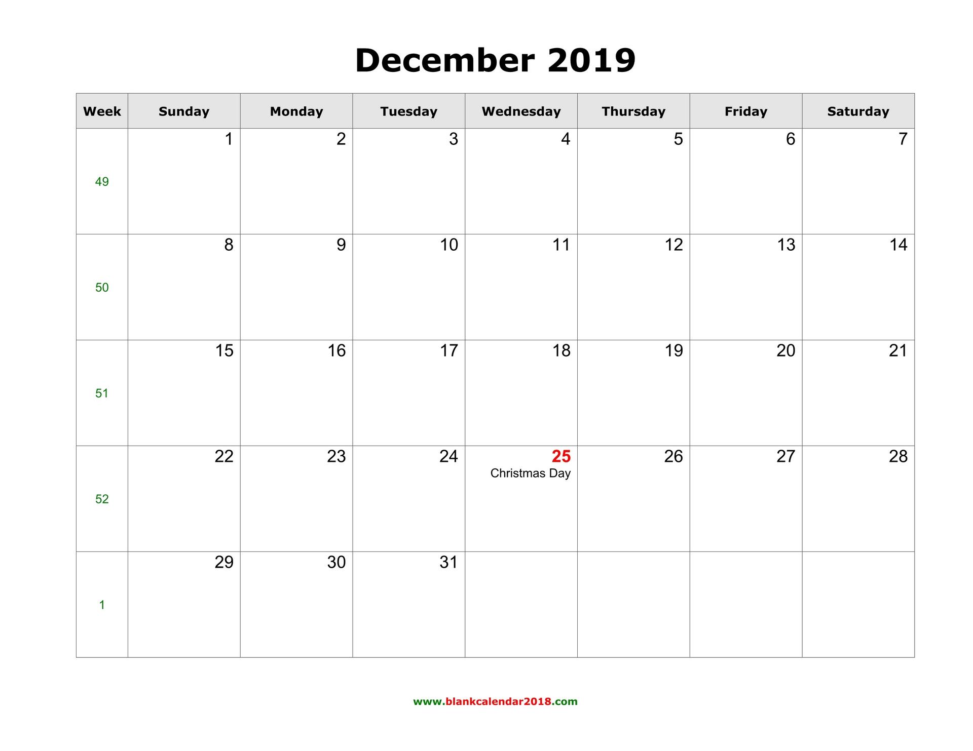 Blank Calendar For December 2019 throughout August - December Blank Calendar
