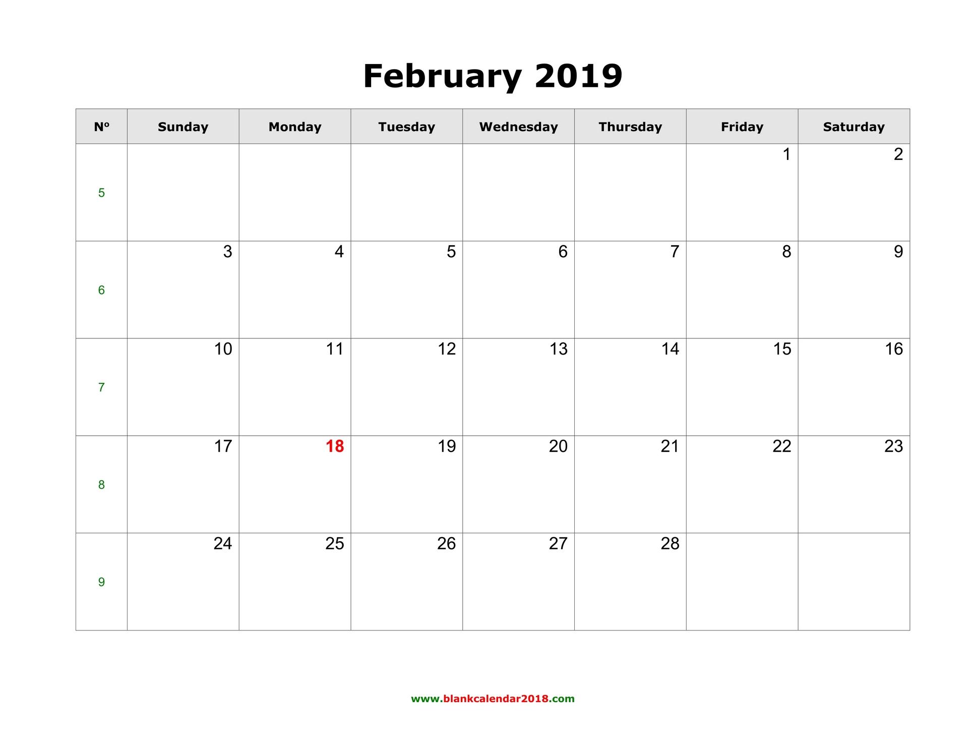 Blank Calendar For February 2019 regarding Blank Calendar With Only Weekdays