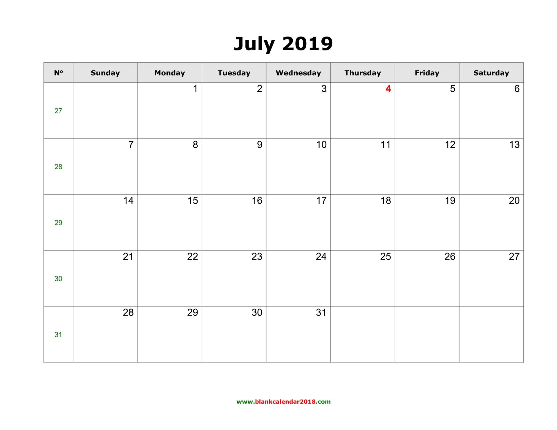 Blank Calendar For July 2019 pertaining to Blank July Calendar Printable